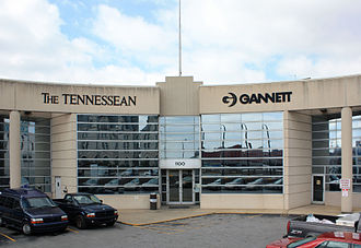 Nashville Banner - The Banner shared these offices at 1100 Broadway with The Tennessean. The Banners masthead design occupied the location of the Gannett logo in this photograph, but was removed shortly after the paper ceased publishing.