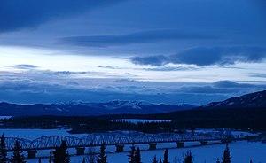 Teslin, Yukon - Teslin at dusk