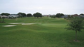 The Villages, Florida - The 18th green at Tierra Del Sol, one of the twelve country club golf courses at The Villages