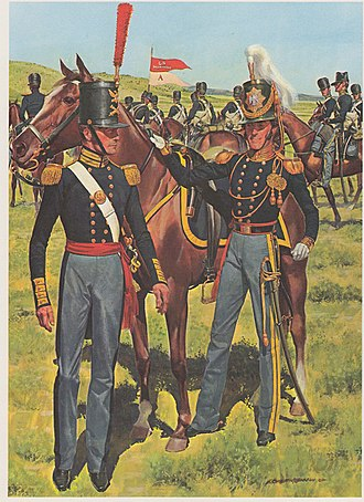 1st Cavalry Regiment (United States) - In the right foreground stands a subaltern of the First Regiment of Dragoons; in the left foreground is an ordnance sergeant-of which there was one on every Army post.