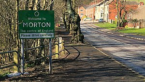 Centre points of the United Kingdom - Road sign welcoming visitors to the Centre of England at Morton, Derbyshire.