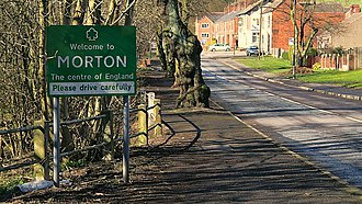Centre points of the United Kingdom - Road sign welcoming visitors to the Centre of England at Morton, Derbyshire