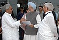 The Chief Minister of Bihar, Shri Nitish Kumar discussing with the Prime Minister, Dr. Manmohan Singh about the relief operations on flood-affected areas, in Bihar, August 28, 2008.jpg