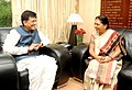The Chief Minister of Gujarat, Smt. Anandiben Patel calling on the Minister of State (Independent Charge) for Power, Coal and New and Renewable Energy, Shri Piyush Goyal, in New Delhi on August 08, 2014.jpg