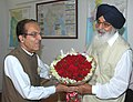 The Chief Minister of Punjab, Shri Prakash Singh Badal meeting with the Union Minister for Water Resources, Prof. Saifuddin Soz to discuss the water resources related issues in the State, in New Delhi on August 22, 2008.jpg