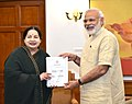 The Chief Minister of Tamil Nadu, Ms. J. Jayalalithaa presenting a memorandum to the Prime Minister, Shri Narendra Modi, in New Delhi on June 14, 2016.jpg