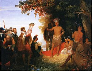 Christopher Newport - The Coronation of Powhatan, oil on canvas, John Gadsby Chapman, 1835