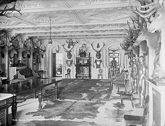 Powerscourt Estate - The hall at Powerscourt House, circa 1890