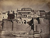 Left: The Maharaja's Fort (Ramnagar Fort), front view, 1869. Right: Entrance gate to the fort, 1905.