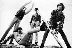 I Monkees. Da sinistra: Mickey Dolenz, Davy Jones, Mike Nesmith e Peter Tork