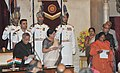 The President, Shri Pranab Mukherjee administering the oath as Minister of State to Sadhvi Niranjan Jyoti, at a Swearing-in Ceremony, at Rashtrapati Bhavan, in New Delhi on November 09, 2014.jpg