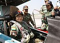 The President, Smt. Pratibha Devisingh Patil being strapped-up in the Sukhoi 30 MKI Fighter Aircraft before her sortie from Air Force Station, Pune on November 25, 2009.jpg