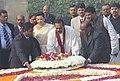 The President of the Democratic Socialist Republic of Sri Lanka, Mr. Mahinda Rajapaksa and his wife Mrs. Shiranthi Rajapaksa laying wreath at the Samadhi of Mahatma Gandhi at Rajghat in Delhi on December 28, 2005.jpg