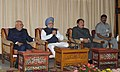 The Prime Minister, Dr. Manmohan Singh with the Governor of Sikkim, Shri B.P. Singh and the Chief Minister of Sikkim, Shri Pawan Kumar Chamling, at a review meeting, in Gangtok, Sikkim on September 29, 2011.jpg