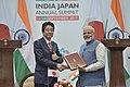 The Prime Minister, Shri Narendra Modi and the Prime Minister of Japan, Mr. Shinzo Abe at the joint press statement, during 12th India Japan Annual Summit, at Mahatma Mandir, in Gandhinagar, Gujarat on September 14, 2017 (5).jpg