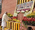 The Prime Minister, Shri Narendra Modi paying floral tributes to the martyrs of the 2001 Parliament attack, at Parliament building, in New Delhi on December 13, 2016.jpg