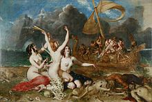 Three naked women sitting on a pile of rotting corpses, beckoning to a group of sailors in a boat