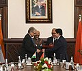 The Vice President, Shri M. Hamid Ansari and the Prime Minister of Morocco, Mr. Abdelilah Benkirane witnessing the exchange of MoUs, in Rabat, Morocco on May 31, 2016.jpg
