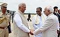 The Vice President, Shri M. Hamid Ansari being bid farewell by the Governor of Karnataka, Shri Vajubhai Rudabhai Vala, the Chief Minister of Karnataka, Shri Siddaramaiah at Mysuru Airport, in Mysuru on July 23, 2016.jpg