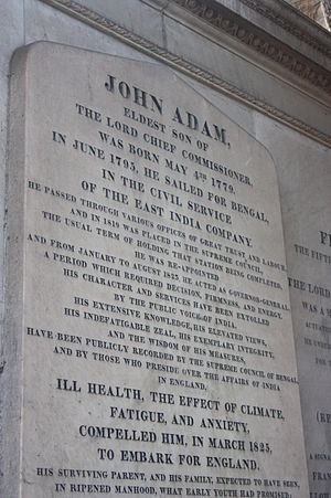 John Adam (administrator) - The memorial to John Adam in the Adam mausoleum, Greyfriars kirkyard