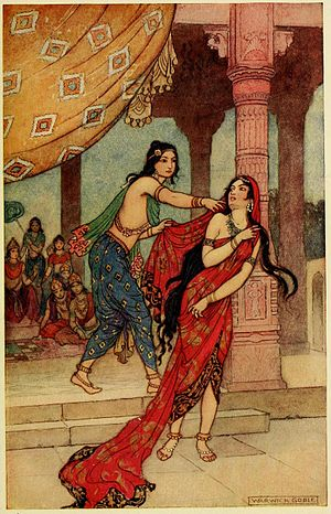 Sabha Parva - The virtuous king Yudhishthira succumbs to his addiction to gambling, he loses his kingdom, his brothers, his wife in bets. Picture shows disrobing of queen Draupadi, when he loses her in a game of dice.