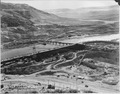 The southeast corner of the immense 3,000 foot Grand Coulee cofferdam - NARA - 293984.tif