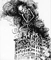 The spectre of Death, in the form of a large skeleton, rises with the smoke and flames of the burning Asch Building during the Triangle fire, as people jump and fall to their death. (5279751556).jpg
