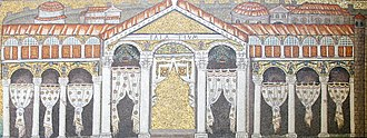 Theoderic the Great - Mosaic depiction of the front of Theoderic's Palace on the upper part of the south wall of the nave of San Apollinare Nuovo in Ravenna. Theoderic and his court were removed from the image by the Eastern Romans.