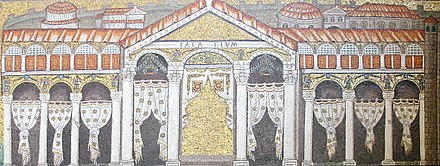 Mosaic of the Palace of Theodoric in Sant'Apollinare Nuovo. Theodoric's Palace - Sant'Apollinare Nuovo - Ravenna 2016 (crop).jpg