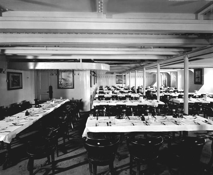 Third Class Dining Saloon on the 'Olympic' (1911) RMG G10782
