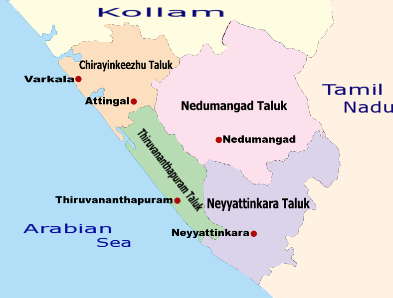 പ്രമാണം:Thiruvananthapuram District Taluk Map.png