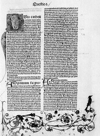 Knowledge of Christ - A page from a 1482 copy of Summa Theologiæ.