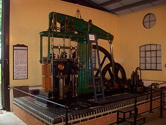 Beam engine - A small rotative beam engine, built in 1870 by Thomas Horn to a design by James Watt.  The crank is visible at the front, the flywheel part-hidden by the engine. (Originally installed in a waterworks in Ashford, now operational and preserved at the Bredgar and Wormshill Light Railway.)