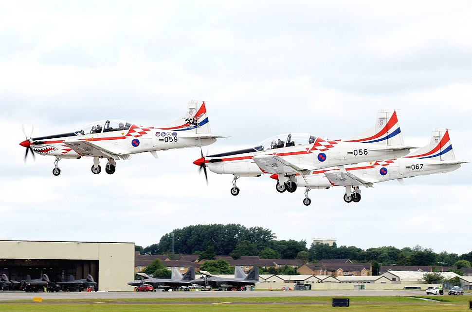 Three Pilatus PC-9 arrive RIAT Fairford 7July2016 arp