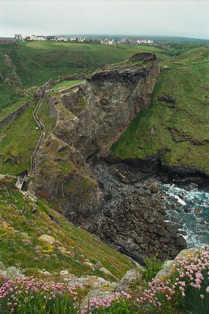 Tintagel - Overlooking the ruins of Tintagel Castle. Part of the village can be seen in the distance