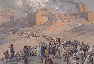 History of the Jews and Judaism in the Land of Israel - An artist's depiction of the deportation and exile of the Jews of the ancient Kingdom of Judah to Babylon and the destruction of Jerusalem and Solomon's temple