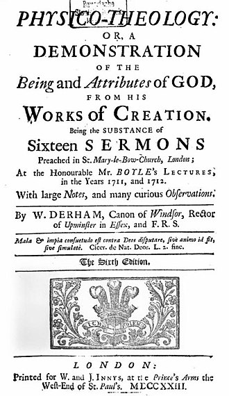 William Derham - Title page of 1723 edition of Derham's Physico-Theology