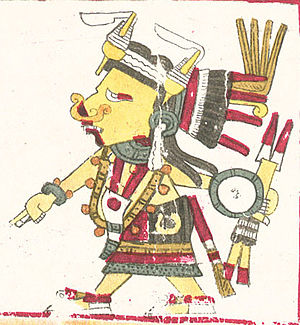 Tlazolteotl - A depiction of Tlazoteotl, styled as in the Codex Borgia manuscript.