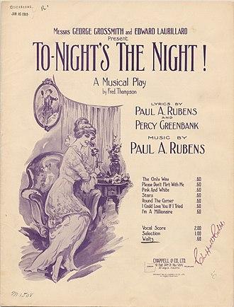 To-Night's the Night (musical) - Original sheet music cover