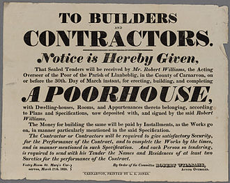 English Poor Laws - Advertisement for builders to build a new Workhouse in north Wales, 1829