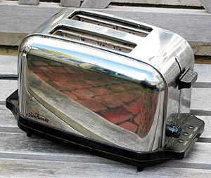 Toaster - A classically styled chrome two-slot automatic electric toaster