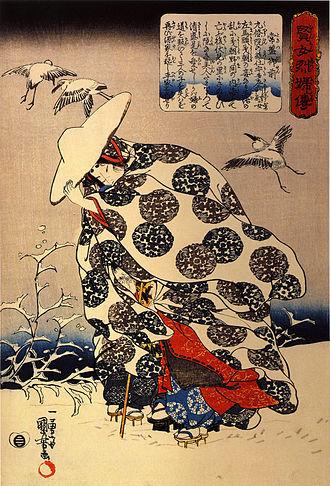 Tokiwa Gozen - Tokiwa Gozen fleeing through the snow with her three sons; 19th-century woodblock print by Utagawa Kuniyoshi
