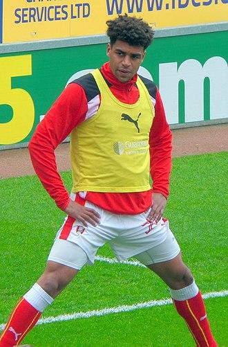 Tom Adeyemi - Adeyemi warming up for Rotherham United in May 2017
