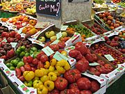 A selection of tomato cultivars showing the variation in shape and color available