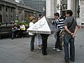 Tourists admiring an information pyramid in front of The Royal Exchange - geograph.org.uk - 887011.jpg