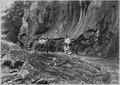 Tourists on the Narrows Trail, showing protective masonry below. - NARA - 520566.tif