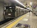 Train for Yao-Minami Station at Shitennoji-mae Yuhigaoka Station.jpg