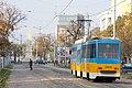 Tram in Sofia near Russian monument 025.jpg