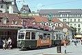Trams in Graz car 248 on Jakominiplatz 1977.jpg