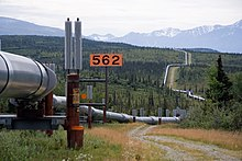 The trans-Alaska oil pipeline, as it zig-zags across the landscape